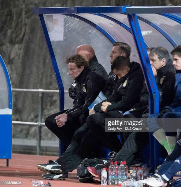 Scotland head coach Scot Gemill looks dejected