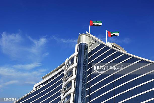 uae flags on building