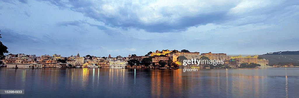 Uaipur City Palace & Pichola Lake Sunset : Stock Photo