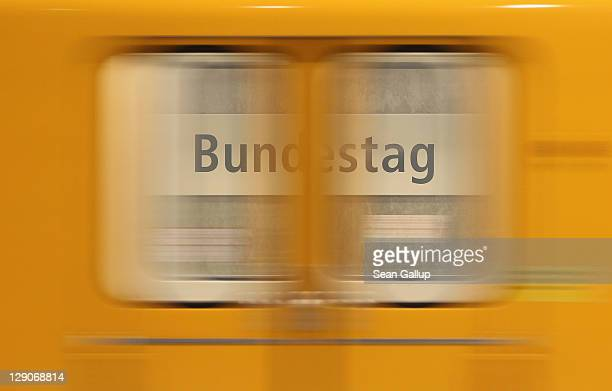 Bahn commuter train arrives at the Bundestag station in Mitte district on October 12 2011 in Berlin Germany Mitte district is home not only to the...