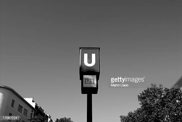 u-bahn signs - underground sign stock pictures, royalty-free photos & images