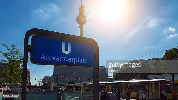 u-bahn station berlin alexanderplatz - letter u stock photos and pictures