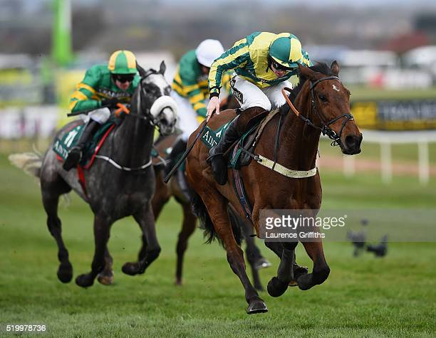 Ubak ridden by Joshua Moore on their way to victory during The Gaskells Waste Management Handicap Hurdle Race during the 2016 Crabbie's Grand...