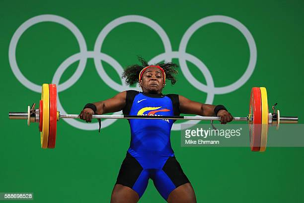 Ubaldina Valoyes Cuesta of Colombia in action during the Weightlifting Women's 75kg Group A on Day 7 of the Rio 2016 Olympic Games at Riocentro...