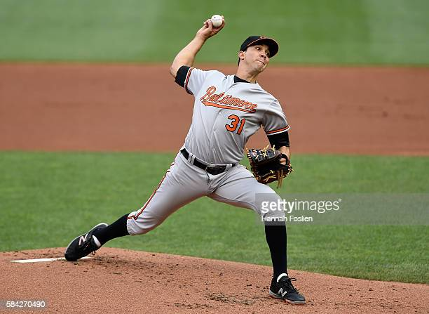 Ubaldo Jimenez of the Baltimore Orioles delivers a pitch against the Minnesota Twins during the first inning of the game on July 28 2016 at Target...