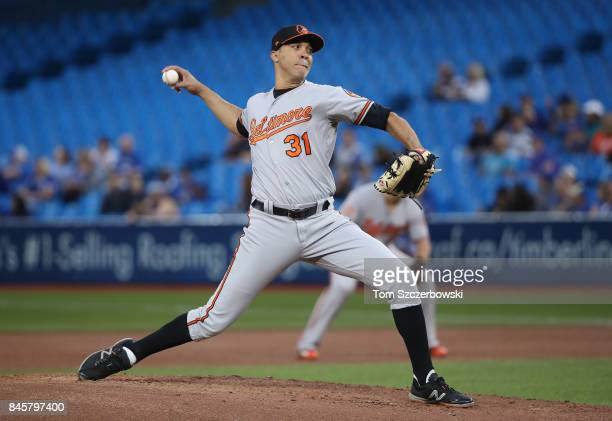 Ubaldo Jimenez of the Baltimore Orioles delivers a pitch in the first inning during MLB game action against the Toronto Blue Jays at Rogers Centre on...