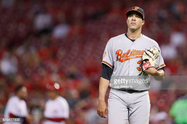 Ubaldo Jimenez of the Baltimore Orioles heads to the dugout after pitching the fifth inning of the game against the Cincinnati Reds at Great American...