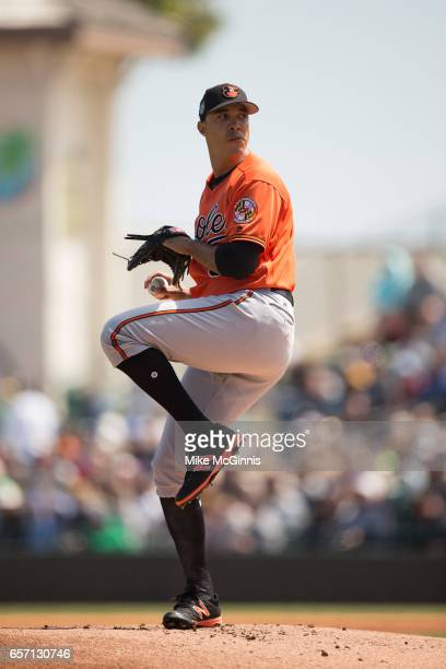 Ubaldo Jimenez of the Baltimore Orioles in action during the Spring Training game against the Pittsburgh Pirates at LECOM Park on March 15 2017 in...