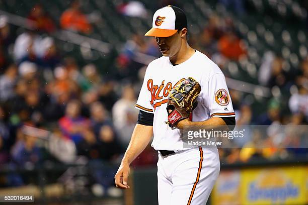 Ubaldo Jimenez of the Baltimore Orioles is relieved in the fifth inning against the Seattle Mariners on May 17 2016 in Baltimore Maryland