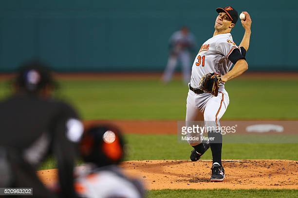 Ubaldo Jimenez of the Baltimore Orioles pitches against the Boston Red Sox during the first inning at Fenway Park on April 13 2016 in Boston...