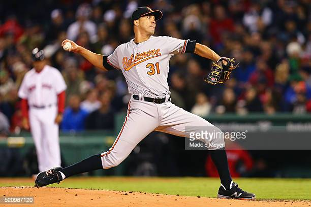Ubaldo Jimenez of the Baltimore Orioles pitches against the Boston Red Sox during the second inning at Fenway Park on April 13 2016 in Boston...