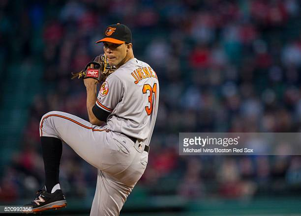 Ubaldo Jimenez of the Baltimore Orioles pitches against the Boston Red Sox in the first inning on April 13 2016 at Fenway Park in Boston Massachusetts