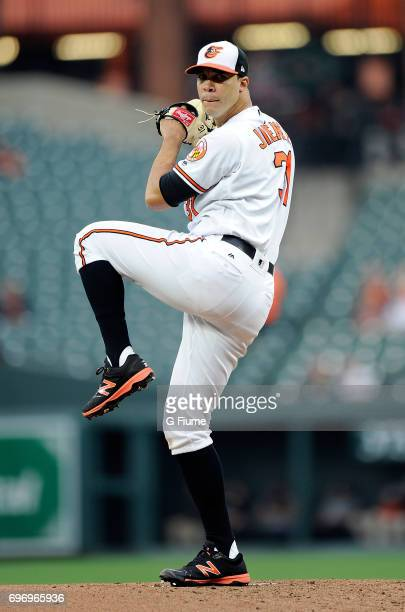 Ubaldo Jimenez of the Baltimore Orioles pitches against the Minnesota Twins at Oriole Park at Camden Yards on May 22 2017 in Baltimore Maryland