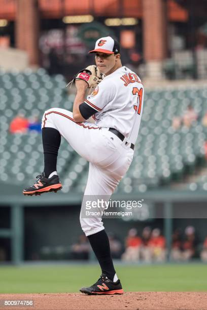 Ubaldo Jimenez of the Baltimore Orioles pitches against the Minnesota Twins on May 22 2017 at Oriole Park at Camden Yards in Baltimore Maryland The...