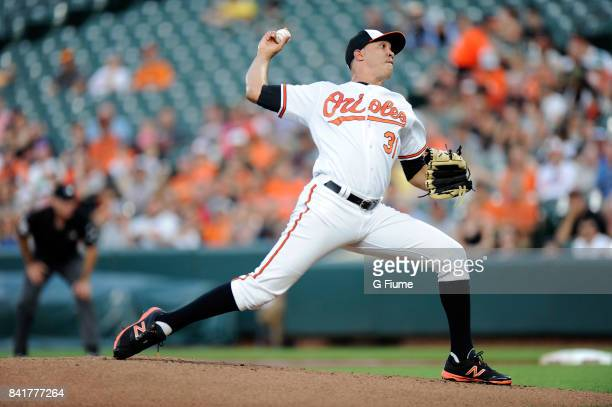 Ubaldo Jimenez of the Baltimore Orioles pitches against the Oakland Athletics at Oriole Park at Camden Yards on August 22 2017 in Baltimore Maryland