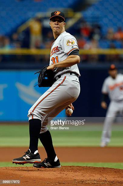 Ubaldo Jimenez of the Baltimore Orioles pitches during the first inning of a game against the Tampa Bay Rays on September 5 2016 at Tropicana Field...