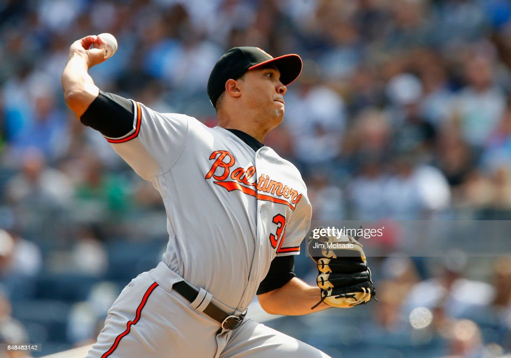 Ubaldo Jimenez #31 of the Baltimore Orioles pitches in the first inning against the New York Yankees at Yankee Stadium on September 17, 2017 in the Bronx borough of New York City.