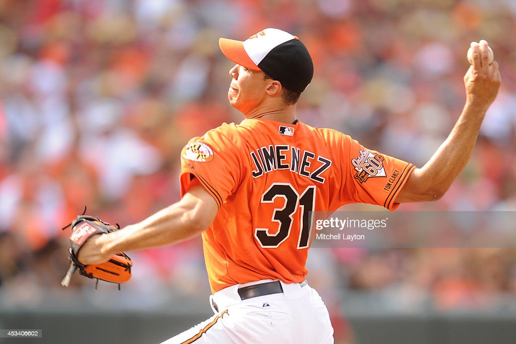 Ubaldo Jimenez #31 of the Baltimore Orioles pitches in the second inning during a baseball game against the St. Louis Cardinals on August 9, 2014 at Oriole Park at Camden Yards in Baltimore, Maryland. The Orioles won 10-3.