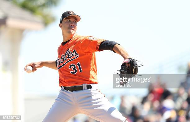 Ubaldo Jimenez of the Baltimore Orioles pitches in the second inning of a spring training game against the Pittsburgh Pirates on March 15 2017 at...
