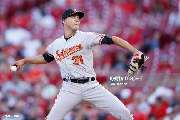 Ubaldo Jimenez of the Baltimore Orioles pitches in the second inning of the game against the Cincinnati Reds at Great American Ball Park on April 19...