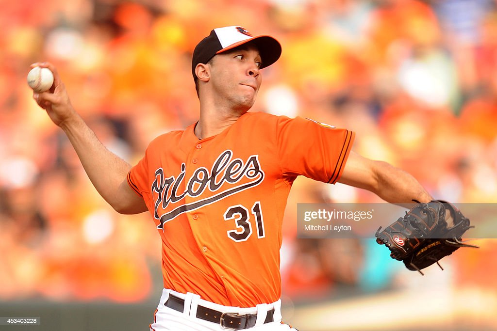 Ubaldo Jimenez #31 of the Baltimore Orioles pitches in the third inning during a baseball game against the St. Louis Cardinals on August 9, 2014 at Oriole Park at Camden Yards in Baltimore, Maryland.