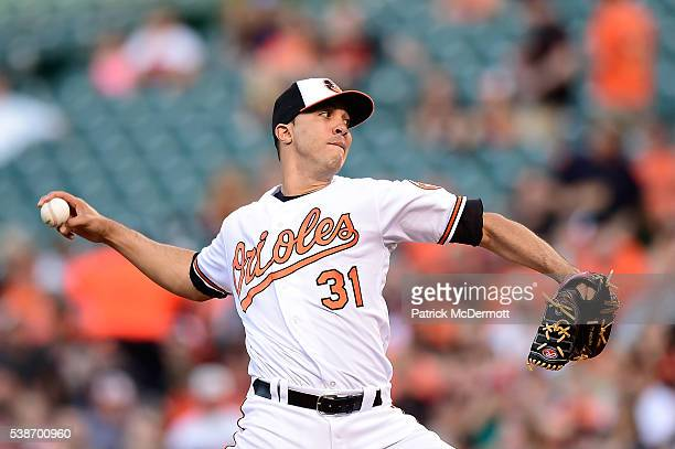 Ubaldo Jimenez of the Baltimore Orioles throws a pitch to a Kansas City Royals batter in the second inning during a MLB baseball game at Oriole Park...