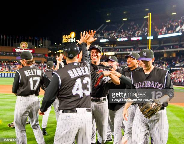 Ubaldo Jimenez of the Colorado Rockies celebrates after his nohitter against the Atlanta Braves on April 17 2010 at Turner Field in Atlanta Georgia...