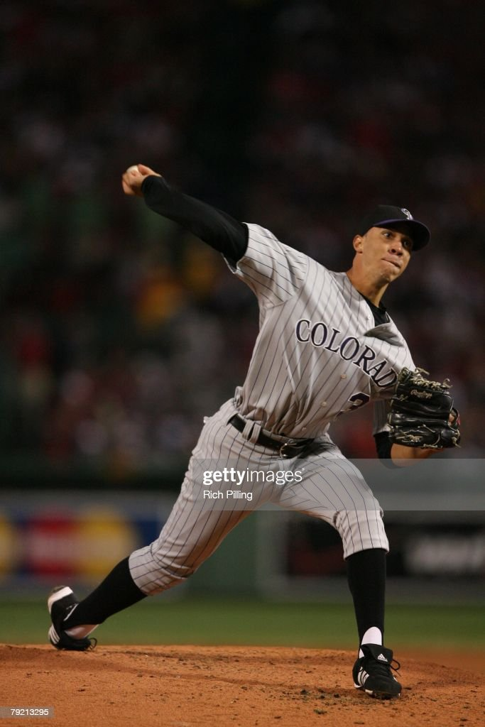 Ubaldo Jimenez of the Colorado Rockies pitches during Game Two of the 2007 World Series against the Boston Red Sox on October 25, 2007 at Fenway Park in Boston, Massachusetts. The Red Sox defeated the Rockies 2-1.