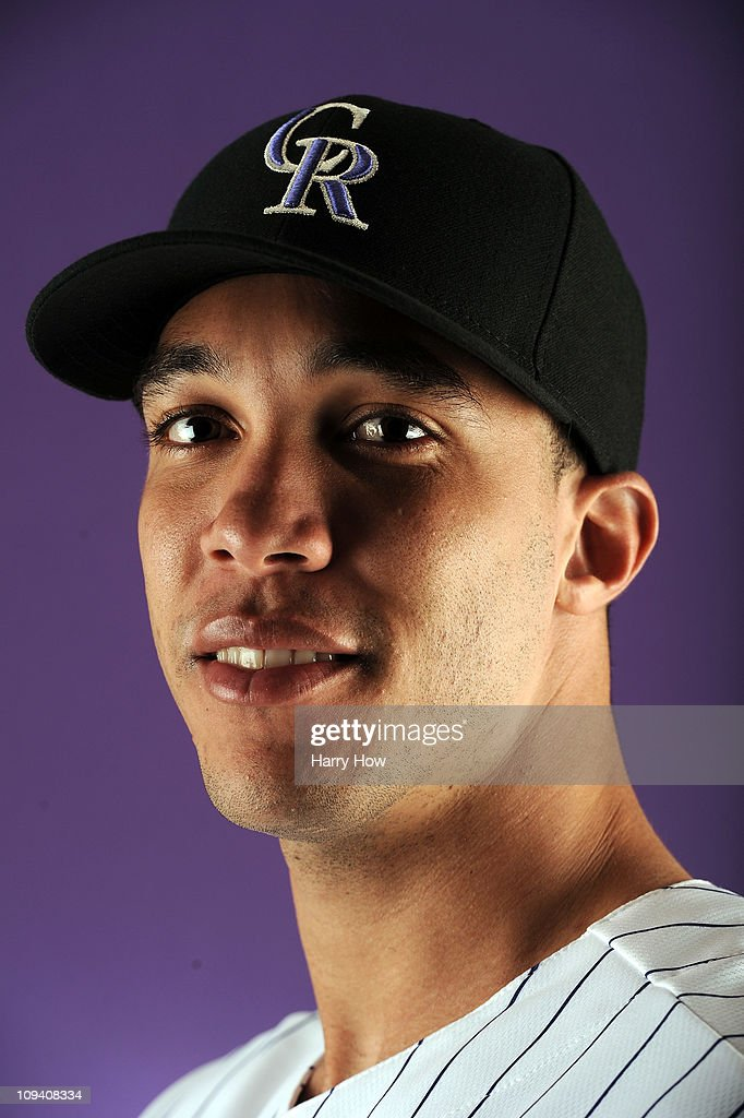 Ubaldo Jimenez #38 of the Colorado Rockies poses for a portrait during photo day at the Salt River Fields at Talking Stick on February 24, 2011 in Scottsdale, Arizona.