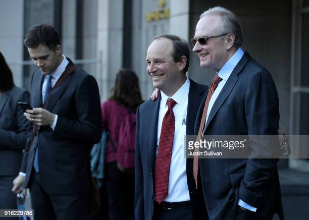 Uber attorney Bill Carmody and Waymo attorney Charles Verhoeven pose for a photo outside of the Phillip Burton Federal Building after the WaymoUber...