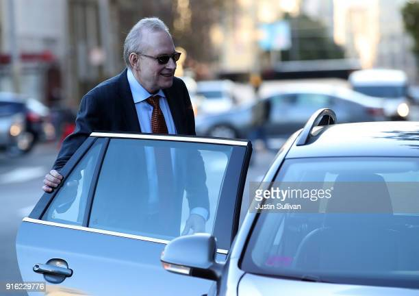 Uber attorney Bill Carmody leaves the Phillip Burton Federal Building after the WaymoUber technology theft trial was dismissed on February 9 2018 in...