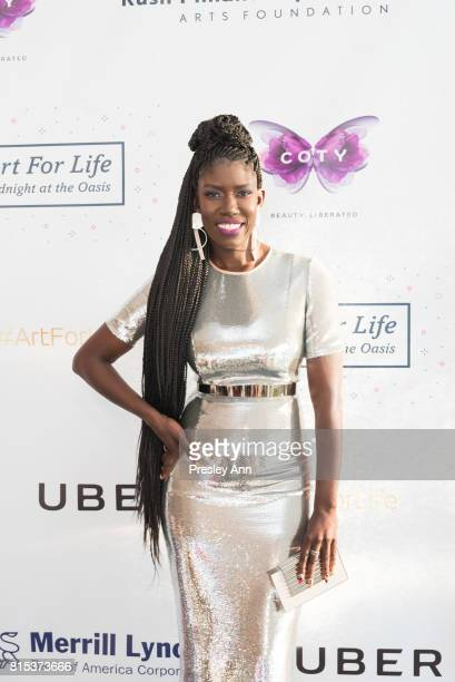 Uber Bozoma Saint John attends 2017 Rush Philanthropic Arts Foundation Art For Life Benefit at Fairview Farms on July 15 2017 in Water Mill New York