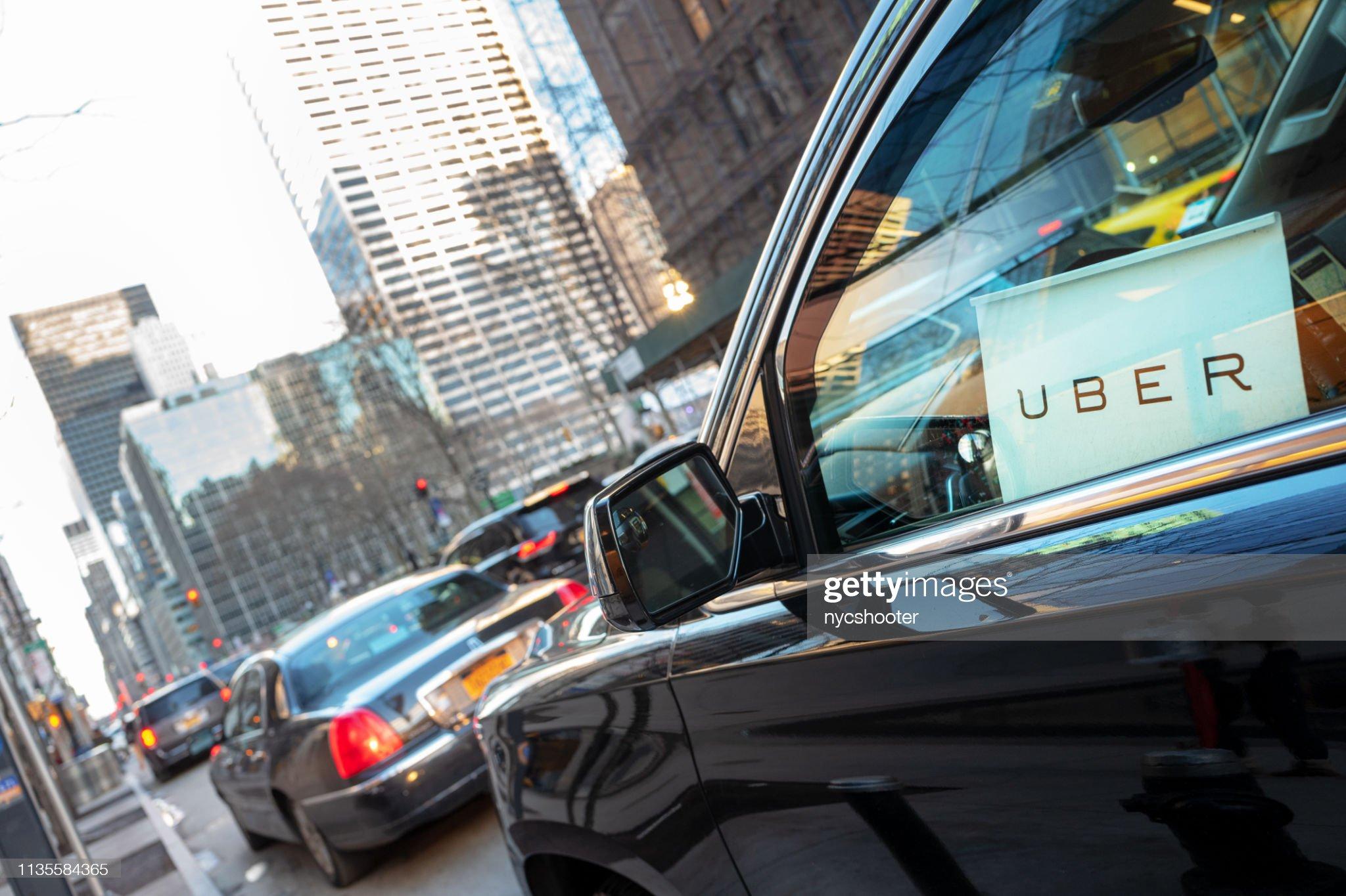 Servicio de coches Uber en Nueva York : Foto de stock