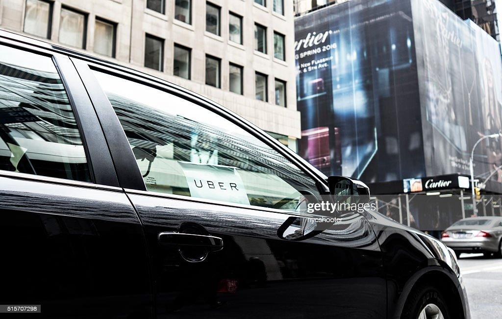 Uber car service in New York City : Stock Photo