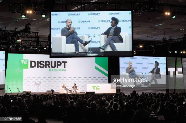 Uber CEO Dara Khosrowshahi and moderator Megan Rose Dickey speak onstage during Day 2 of TechCrunch Disrupt SF 2018 at Moscone Center on September 6...