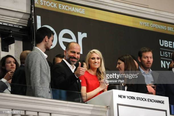 Uber CEO Dara Khosrowshahi joins other employees in ringing the Opening Bell at the New York Stock Exchange as the ridehailing company Uber makes its...