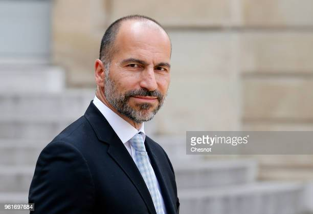 Uber CEO Dara Khosrowshahi leaves the Elysee Presidential Palace after the Tech for Good Summit on May 23 2018 in Paris France Tech for Good is...