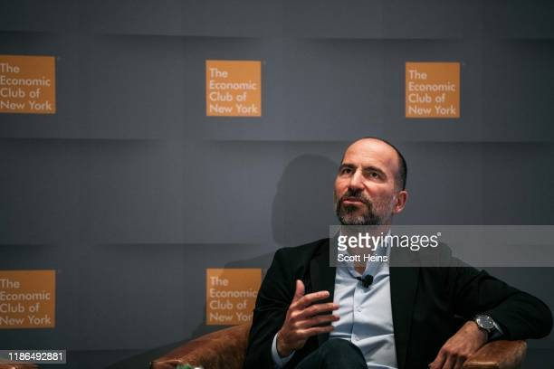 Uber CEO Dara Khosrowshahi speaks at a meeting of the Economic Club of New York in Manhattan on December 4 2019 in New York City The ride hailing...
