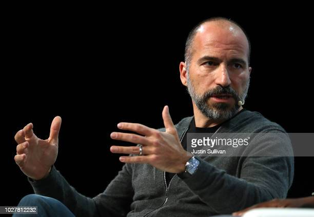 Uber CEO Dara Khosrowshahi speaks during the TechCrunch Disrupt SF 2018 on September 6 2018 in San Francisco California TechCrunch Disrupt puts the...