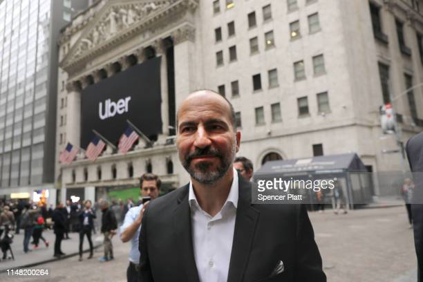 Uber CEO Dara Khosrowshahi walks outside of the New York Stock Exchange before ringing the Opening Bell at the NYSE as the ridehailing company Uber...