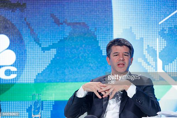 Uber CEO Travis Kalanick attends the 'Technology Tipping Points Digital Ubiquity' session of 2016 Summer Davos Forum on June 26 2016 in Tianjin China...
