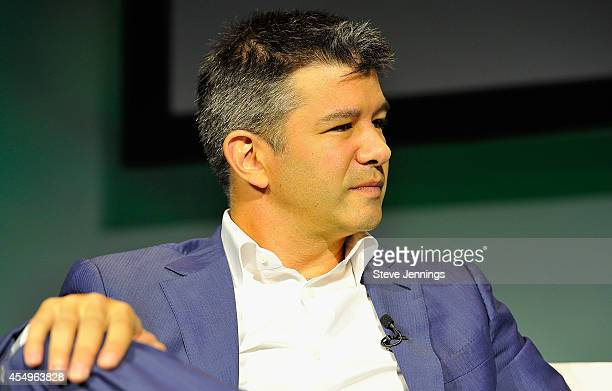 Uber CEO Travis Kalanick speaks onstage at TechCrunch Discrupt at Pier 48 on September 8 2014 in San Francisco California