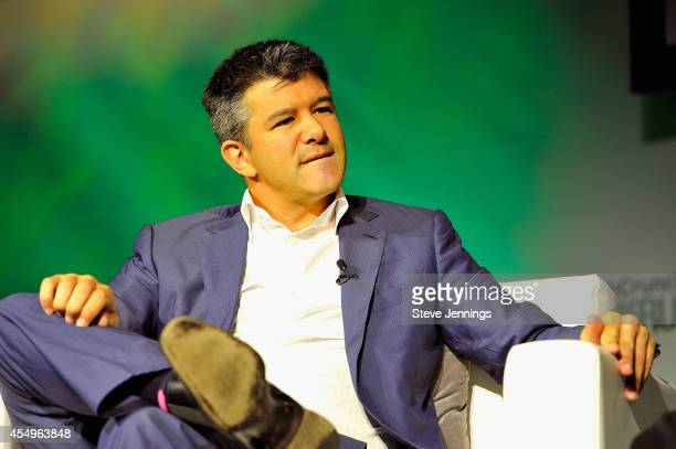 Uber CEO Travis Kalanick speaks onstage at TechCrunch Discrupt at Pier 48 on September 8 2014 in San Francisco California