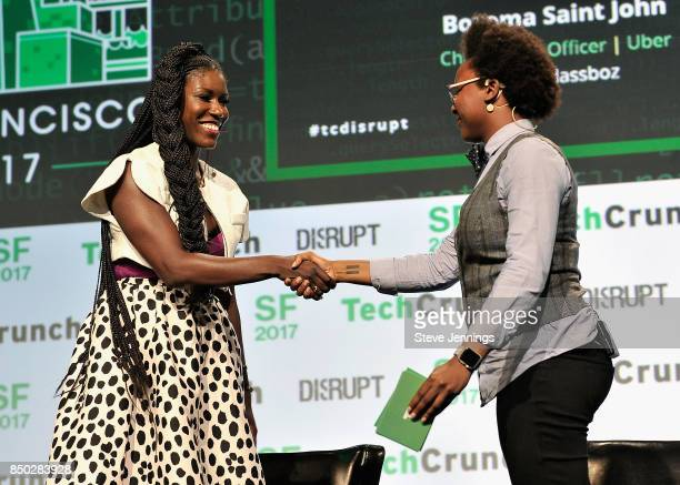 Uber Chief Brand Officer Bozoma Saint John and TechCrunch moderator Megan Rose Dickey speak onstage during TechCrunch Disrupt SF 2017 at Pier 48 on...