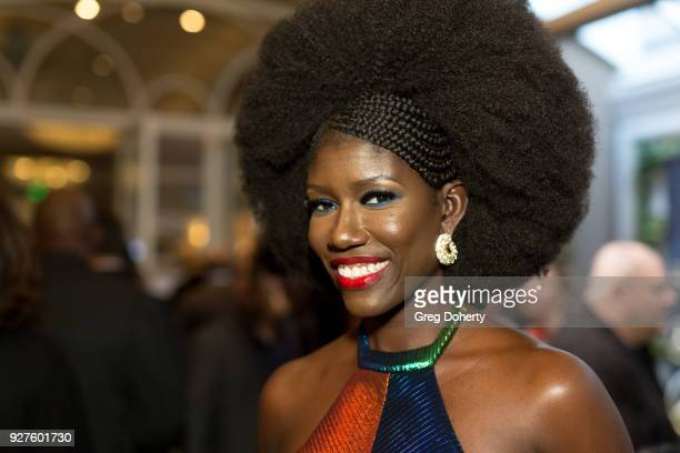 Uber Executive Bozoma Saint John attends the MercedezBenz USA's Official Awards Viewing Party at Four Seasons Hotel Los Angeles at Beverly Hills on...