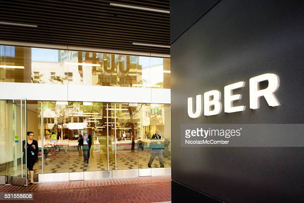 Uber headquarters entrance in San Francisco with sign