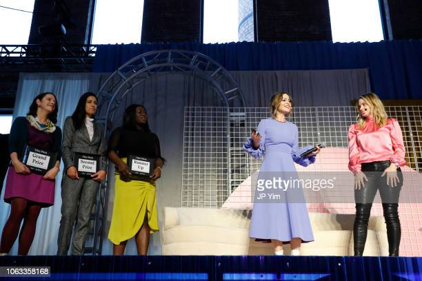 Uber Pitch finalists Ashley LambSinclair Bilyana Freye Jamela Acheampong Sophia Amoruso and Erika Decker WykesSneyd onstage at Girlboss Rally NYC...