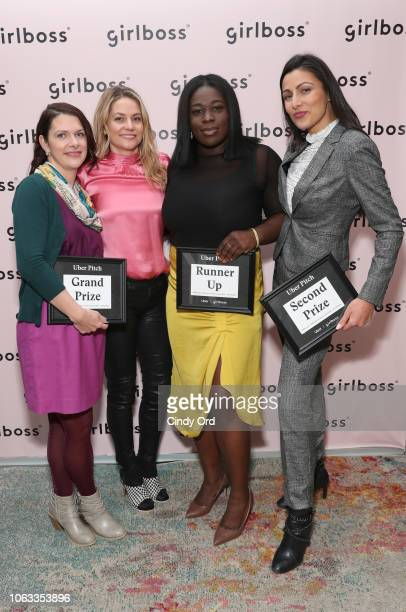 Uber Pitch finalists Ashley LambSinclair Erika Decker WykesSneyd Jamela Acheampong and Bilyana Freye attend Girlboss Rally NYC 2018 at Knockdown...
