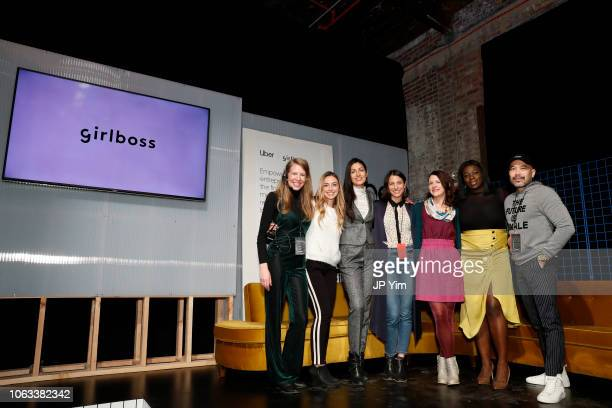 Uber Pitch finalists Bilyana Freye Ashley LambSinclair and Jamela Acheampong onstage at Girlboss Rally NYC 2018 at Knockdown Center on November 18...