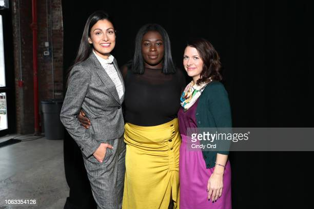 Uber Pitch finalists Bilyana Freye Jamela Acheampong Ashley LambSinclair pose at Girlboss Rally NYC 2018 at Knockdown Center on November 18 2018 in...